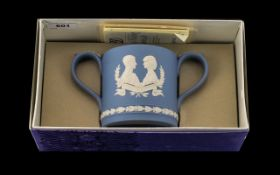 Blue Jasper Wedgwood loving cup to commemorate the Royal wedding of Charles and Diana 29th July