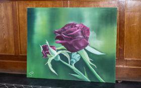 Large Oil on Canvas of Roses by Iranian Artist Shahrebanoo Gezelbash.