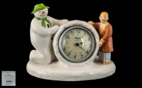 Coalport - Hand Painted Bone China Snowman Clock with James. Date 2003. Height 5.5 Inches - 13.