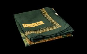 """Christian Dior Scarf Vintage Classic in dark green and gold design, measures 20"""" square."""