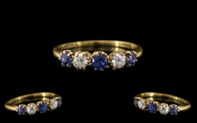 18ct Gold - Attractive Sapphire and Diamond Set Ring, Interior Marked for 18ct.