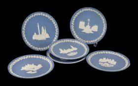 Blue Jasper Wedgwood Early Edition Christmas Plates Six in total. Christmas 1970 Trafalgar Square,