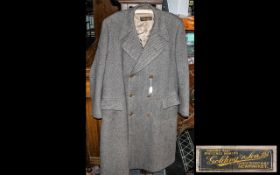 Gentleman's Quality Overcoat by Golding & Son of Newmarket; double breasted with two front pockets,