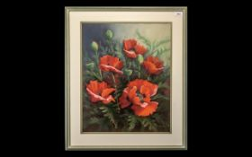 """Watercolour by June Peel, dated 1992, 'Poppies', signed and dated, measures 20"""" x 17"""","""