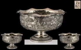 Anglo Indian - Calcutta School Superb Quality and Impressive Repousse Silver Pedestal Bowl. c.1900 -