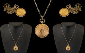 Antique Period 9ct Gold Circular Locket with Wonderful Engine Turned Decoration to Back Cover.