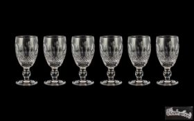 Waterford Superb Quality Set of Six Cut Crystal Sherry Glasses ' Lismore ' Pattern.