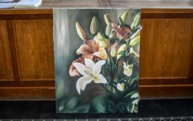 Large Oil on Canvas of Oriental Lilies and Orchids by Iranian Artist Shahrebanoo Gezelbash.