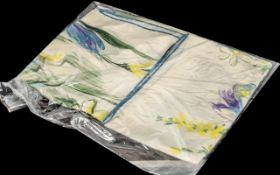 Kreier Silk Scarf made in Switzerland. Hand rolled edges, watercolour of blue and lemon floral on