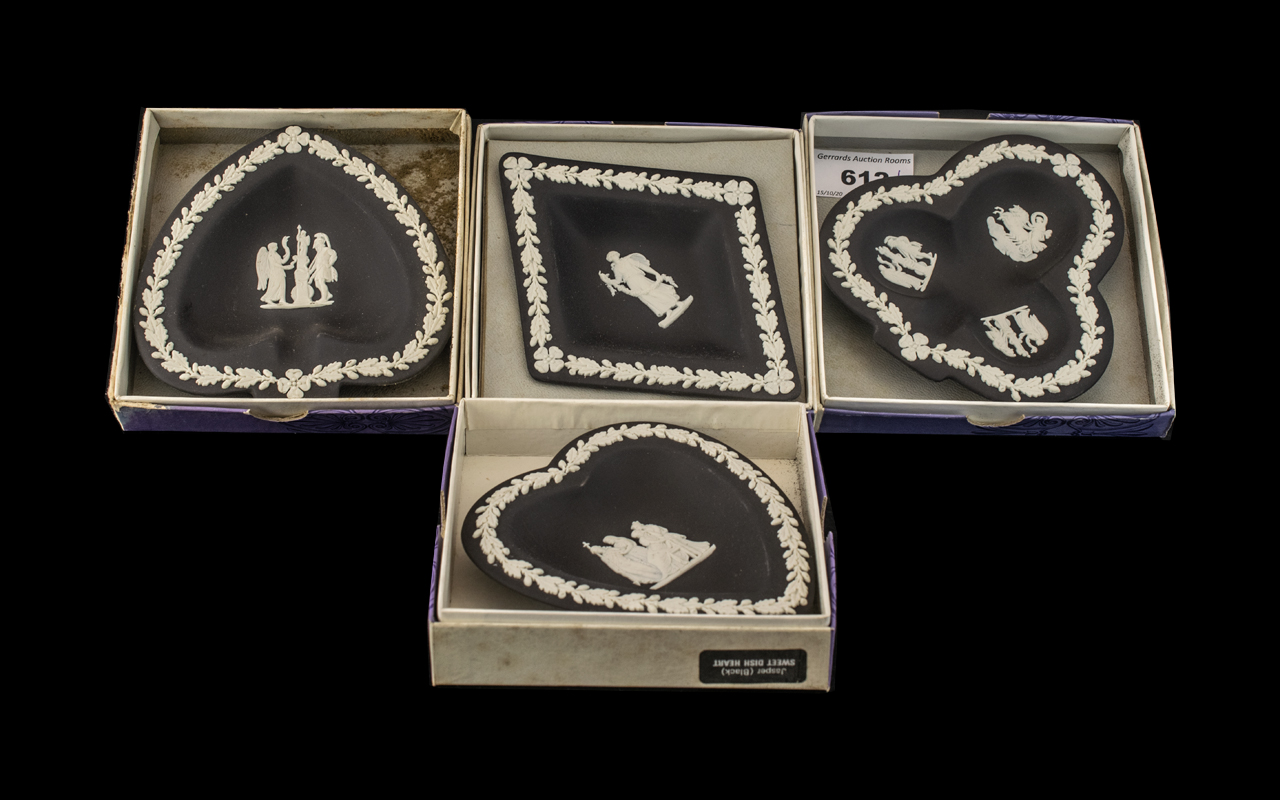 Black Jasper Wedgwood four small 'playing card suits' dishes to include: sweet dish diamond,