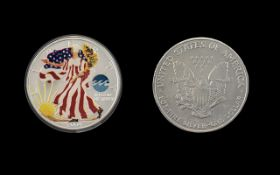 United States of America Liberty Silver Dollar - Enamelled and Date 2004. 1 oz of Fine Silver .999.