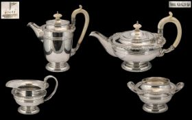 Walker & Hall Superb Quality Sterling Silver 4 Piece Tea Service of Excellent Design / Form,