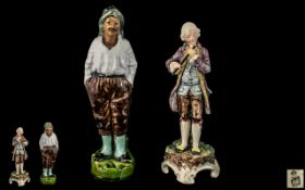 Small Antique Royal Bohemia Pottery Figure of a Gentleman; 6 inches high,