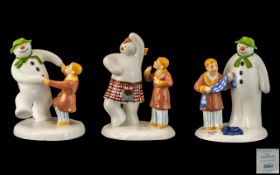 Coalport Collection of Hand Painted First Edition Bone China ' Snowman ' Figures ( 3 ) In Total.