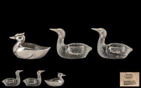 Silver Duck Table Salt Holder, stamped 800 Silver, measures 2.