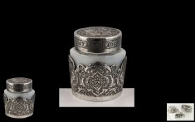 Early to Mid 20th Century Ornate Silver Lidded Rouge Pot with Excellent Chased Decoration,