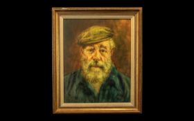 Oil Portrait of an Old Man, full of character and expression, wearing a flat cap and sporting a
