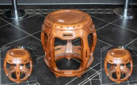 Chinese Hardwood Barrel Shaped Stool with five shaped, internal bowed legs, supported on a