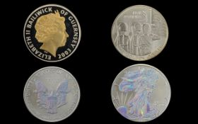 United States of America One Fine Oz Silver Liberty One Dollar Coin with Mother of Pearl Lustre to