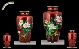 Two Japanese Translucent Dragon's Blood Colour Enamel Vases, chromed rims to the base and top;