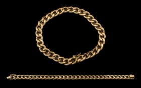 A Good Quality and Stylish 9ct Gold Curb Bracelet with Excellent Safety Clasp.