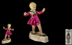 Royal Worcester Hand Painted Porcelain Figure ( Early ) ' January ' Month of Year. RW3452.