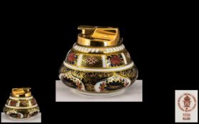 Royal Crown Derby Imari Pattern 22ct Gold Top and Banded Table Cigarette Lighter.