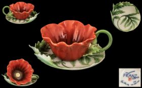 Franz Fine Hand Painted Bone China ' Poppy ' Cup and Saucer. Num F200799. Excellent Condition and