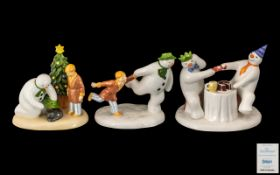 Coalport Hand Painted Ltd Edition Trio Bone China Snowman Figures ( 3 ) All with Boxes and
