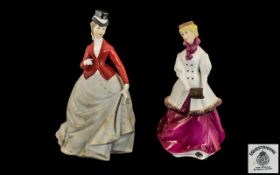 Royal Worcester Pair of Hand Pained Figurines 1/ ' Equestrienne ' RW4066. Modeller Donald Brindley.
