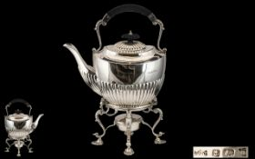 Superb Quality Early 20th Century SterlingSilver Spirit Kettle & Stand of excellent proportions and