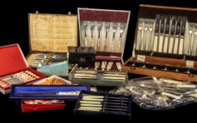 Large Quantity of Cased Cutlery Items comprising forks, knives, fish sets, spoons etc.