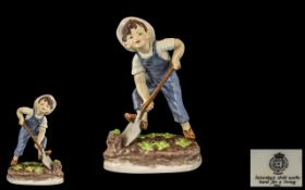 Royal Worcester Hand Painted Early Porcelain Figure ' Saturdays Child ' Boy. RW3524.