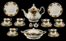 A Large Quantity of Royal Albert Old Country Roses to include sugar bowl and lid, teapot, honey pot,