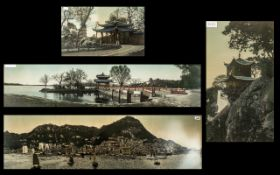 Set of Four Chinese Pictures framed and printed in coloured inks on silk. Depicts Hong Kong harbour,