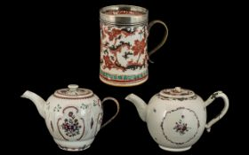 Three Antique Chinese Export Ware Items, mid 18thC,