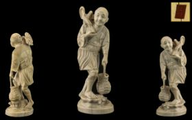 Japanese Meiji Period 1864 - 1912 Tokyo School Signed Well Carved Ivory Figure, Red Seal to