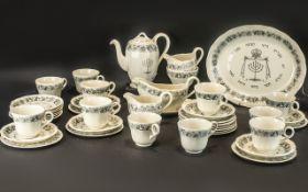 Royal Cauldon Passover Ware Black Litho circa 1950's 44 pieces tea set for 12 people.