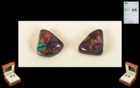 Lightning Ridge Loose Black Opals. A pair of natural black Opals . 2.