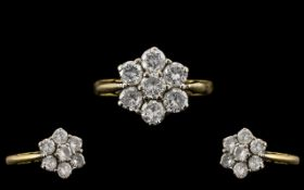 18ct Gold Attractive Diamond Set Cluster Ring - Flower head Design. Hallmark London 1990 and 750 -