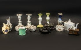 Collection of Victorian Porcelain comprising a floral decorated dressing table set with