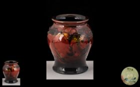 William Moorcroft Signed Small Flambe 'Leaf and Berry' Vase of bulbous form, signed to base
