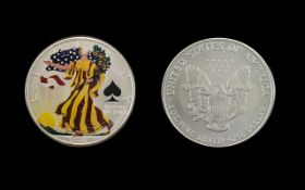 United States of America Liberty Silver Dollar ( Enamelled ) Date 2006. 1 oz of Fine Silver .999.