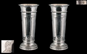 A Fine Pair of Top Quality and Heavy Solid SIlver Vases of Unusual Form / Design. Makers Mark for