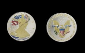 United States of America Liberty Silver Dollar - Enamelled, Date 2001. Silver Purity 1 oz of .