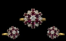 18ct Gold Attractive Ruby and Diamond Set Cluster Ring - Flower head Design. Full Hallmark for 18ct.