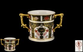 Royal Crown Derby Imari Patter 22ct Gold Banded - Two Handle Loving Cup.