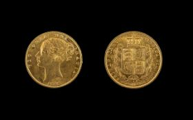 Queen Victoria 22ct Gold Young Head - Shield Back Full Sovereign - Date 1869. London Mint, Die No 4.