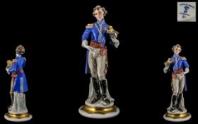 Capo-di-Monte FIne Hand Painted Porcelain Figure / Sculpture of a French Le General, Signed G.