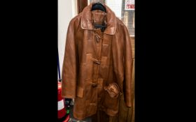Ladies Tan Leather Jacket with detachable hood, toggle front fastening and front pockets, fully